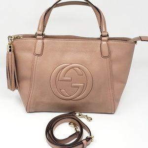 100% Auth Gucci SOHO TASSEL BEIGE 2 Way Handle Bag